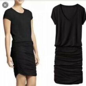 Athleta   Black Ruched Athletic T-Shirt Dress